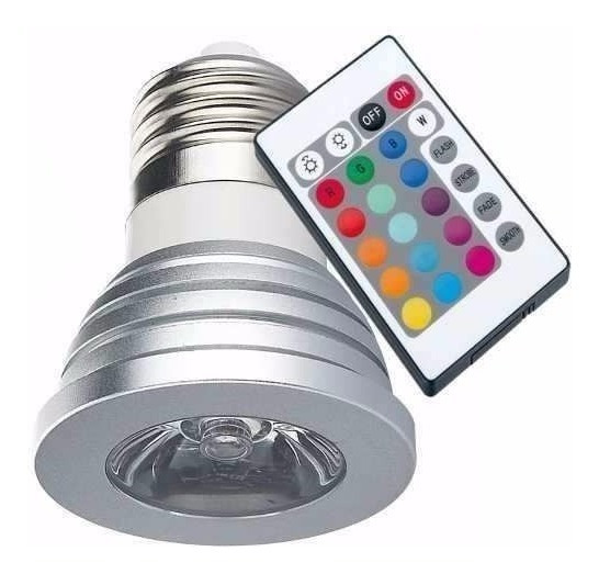 Lampada Spot C/ Controle Remoto Led Rgb 3w 16 Cores Bivolt