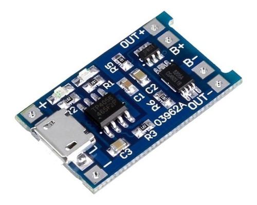 Imagen 1 de 4 de Modulo Cargador Tp4056 Micro Usb 5v 18650 Con Protección