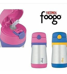 Garrafinha Térmica Thermos Foogo Rosa E Azul Original
