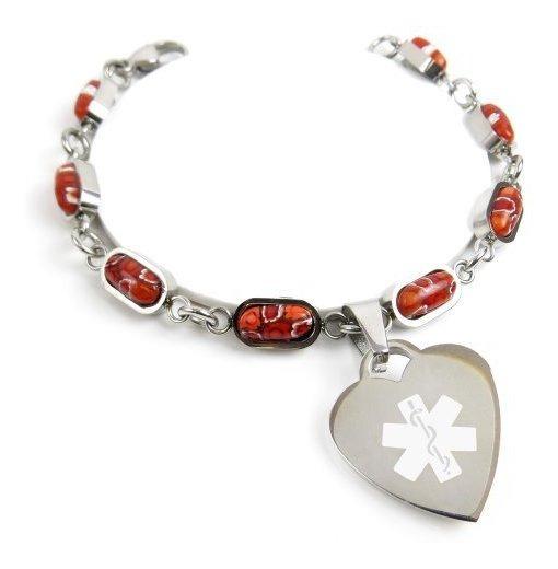 Pre-Engraved /& Customized Demerol Allergy Alert Bracelet Red Black//White Millefiori Glass Pattern My Identity Doctor