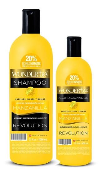 Shampoo Y Acondicionador Wonder Tex Revolution Manzanilla