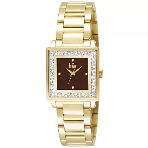 Relógio Feminino Dourado Quadrado Dumont Du2035lml/4m