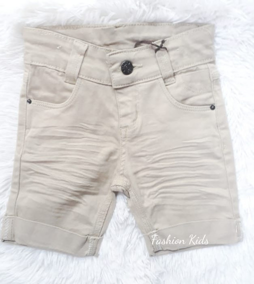 Bermuda Short Jeans Colorido Bebê Menino Creme 1 Á 12 Meses