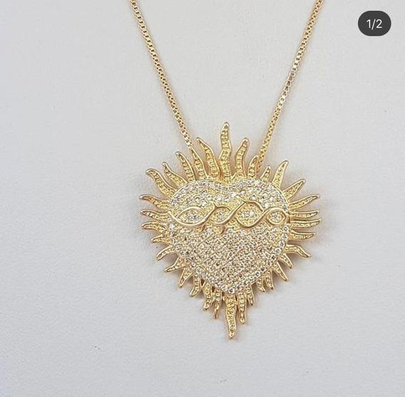 Colar Sagrado Coração Ouro 18k, Cravejado Com Zirconias