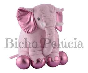 Almofada Travesseiro Elefante Pelúcia Rosa Metálico 80cm