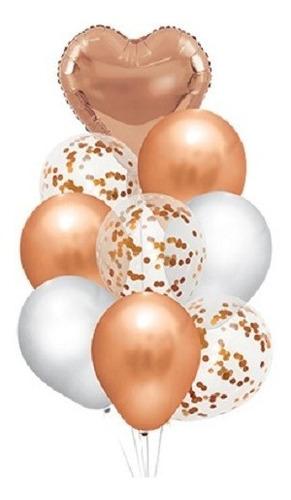 Set 9 Globos Gold Rose Corazon Latex Confetti Apto Helio