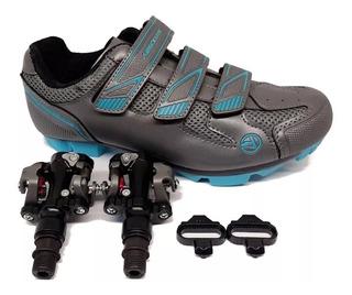 Sapatilha Fem Mtb Absolute Mia Cinza Azul + Pedal Welgo 919