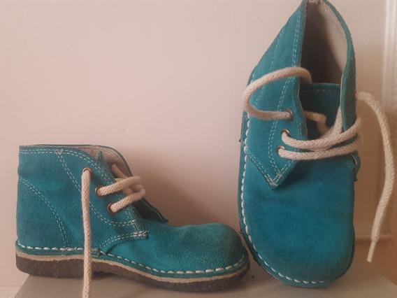 Zapato Tipo Botita Color Turquesa Niña Talle 26