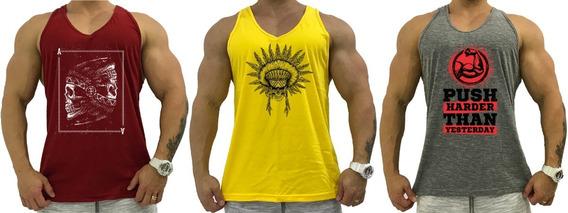Kit 3 Regata Masculina Cavada Camiseta T-shirt Estampas Skul