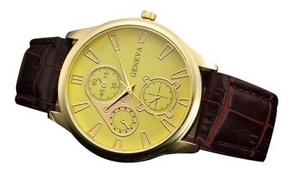 Relógio Geneva Analógico Masculino Com Pulseira De Couro