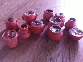 11 Vasinhos Em Cerâmica - Vela Em Miniatura