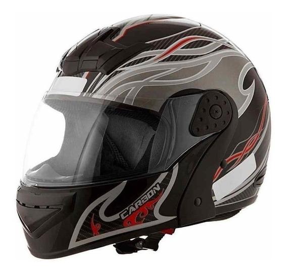 Capacete para moto escamoteável Mixs Gladiator Carbon preto/cinza L