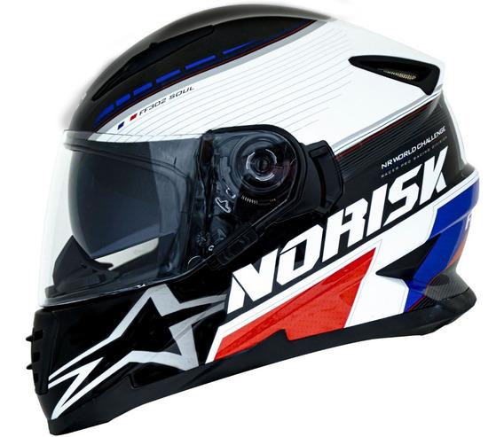 Capacete Norisk Ff302 Grand Prix France Oculos Interno Viseira Solar França Azul Branco Vermelho Lançamento 2019
