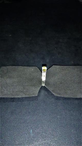 Anel Solitário 925 Com Pedra Citrino Amarelo D,0,6mm X,04mm