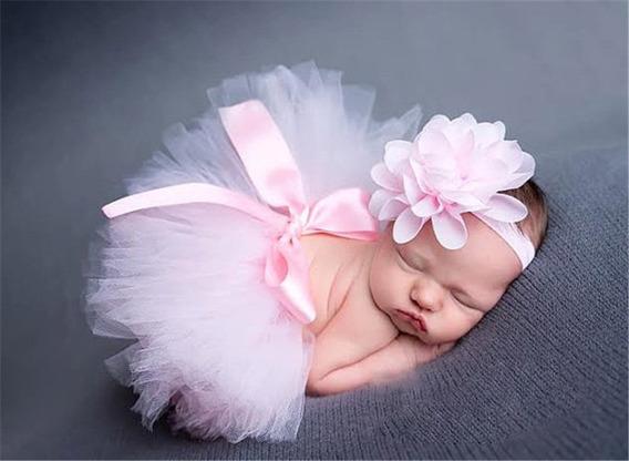 Kit Tutu - Rosa - Newborn - Saia + Faixa - Ensaio Bebê