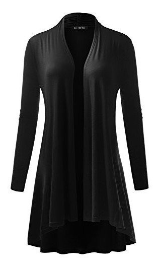 A.f.y Cardigan Extra Largo Para Mujer All For You Negro Xxx-