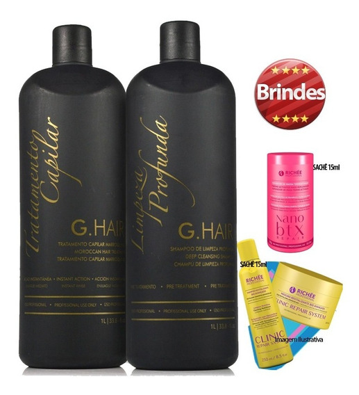 G-hair Inoar Kit Escova Progressiva Marroquina + Brinde
