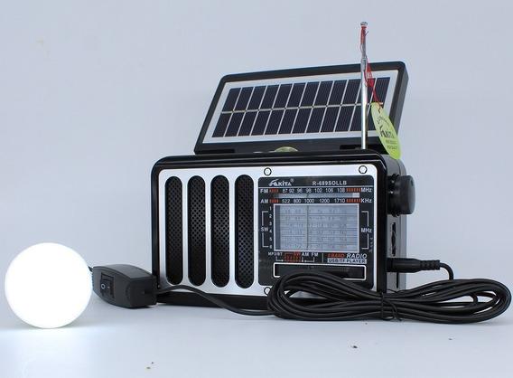 Radio Com Placa Solar Am/fm/usb/tf + Lamapada Usb
