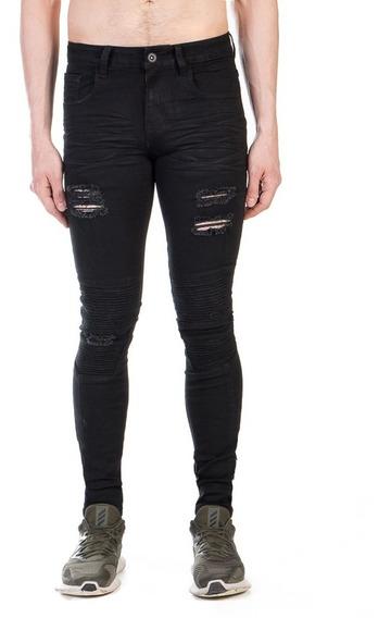 Pantalón Biker Negro Super Skinny Mezclilla Stretch