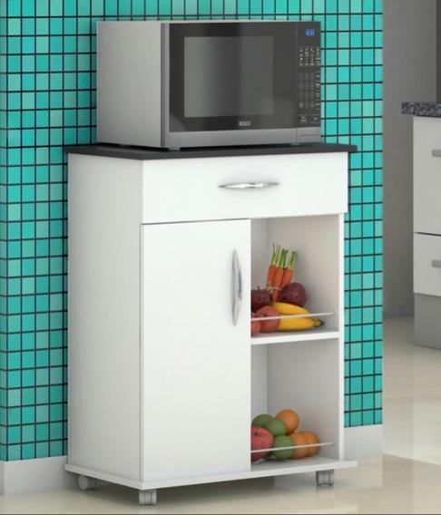Aparador Cozinha Dispensa Multiuso Gaveta Rodas Porta Frutas