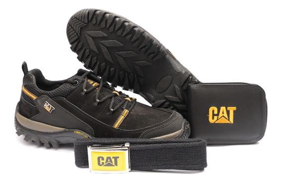 Sapato Cat Em Couro Cinto Carteira Brinde Promoção