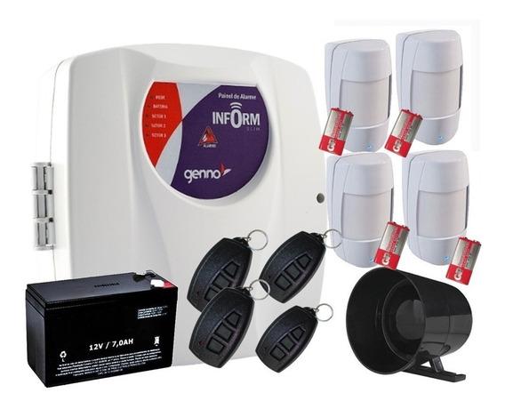 Kit Alarme Inform Slim 3 Genno + 4 Sensor S/ Fio E Sirene