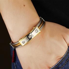 Pulseira Bracelete Masculino Dourado Aço Inox Banho Ouro 18k