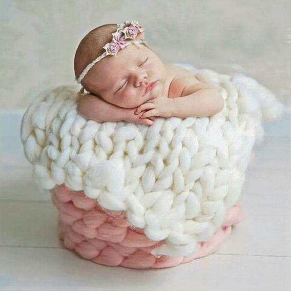 3 Peças Manta Lã Newborn Props Layer