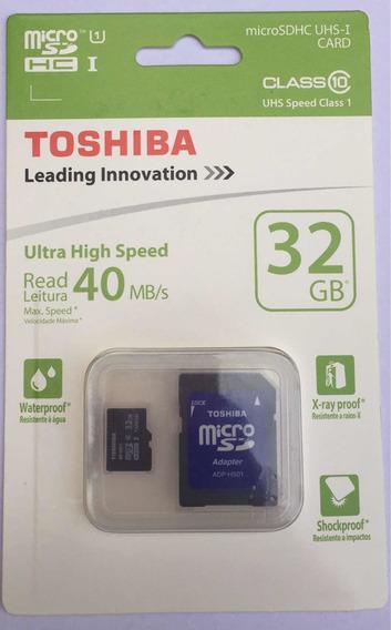 Cartão Micro Sd 32gb Toshiba (classe 10) (frete Gratis)