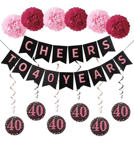 Imagen 1 de 6 de Kit De Decoracion Para Fiesta De 40 Cumpleaños De Oro Rosa