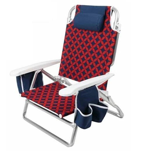 Cadeira De Praia Listrada Moda Feminina Masculina Vermelha