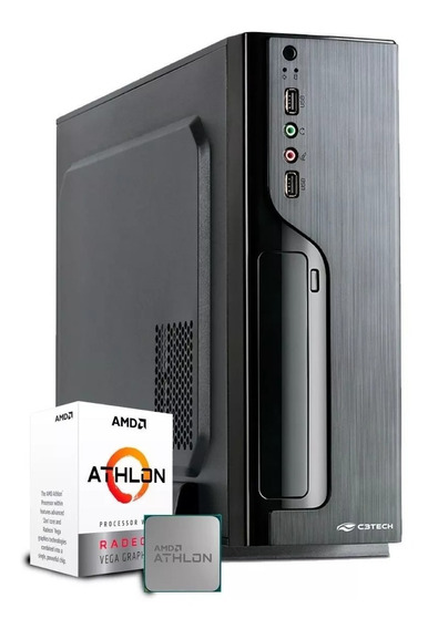 Pc Escritório Amd Athlon 200ge + 4gb + 1tb + Gabinete Slim