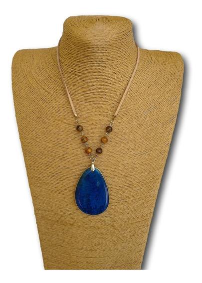 Colar De Pedra Jaspe Azul Com Olho De Tigre Ref. 0053