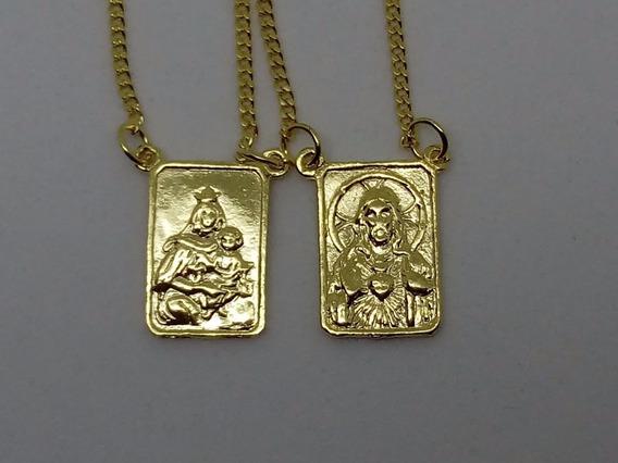Escapulário Tradicional Banhado A Ouro 18quilates