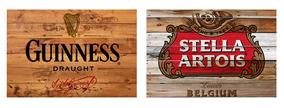 2 Quadros Madeira Rústico Cervejas Guinness E Stella Artois