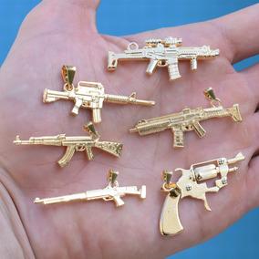 Pingente Fuzil Ak47 Ar15 Arma Policial Mc Banhado Ouro 18k
