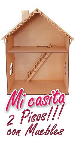 Casa Muñecas Barbie 2 Pisos Con Muebles Mdf 5mm Fibrofácil
