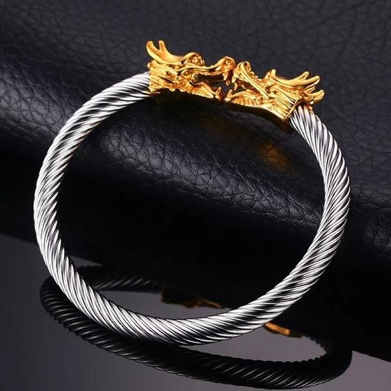 Super Bracelete Viking Ragnar Floki Lagertha Dragão Dourado