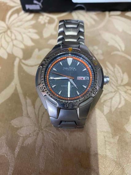 Reloj Nautica Titanium Gris Naranja Fechador Y Semanario