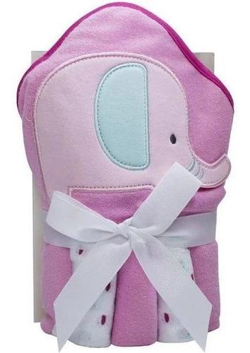 Kit Toalha C/capuz 66x76cm +toalha /boca 23x23cm Elefan/rosa