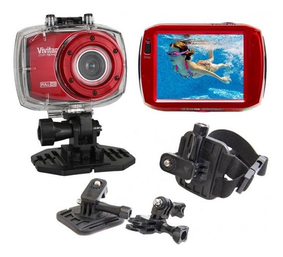 Câmera Filmadora Ação Full Hd Dvr787 Vivitar + Suporte Verm.