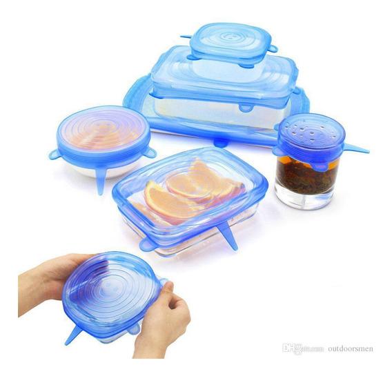 Tapas De Silicona Para Alimentos Y Recipientes X 6 Unidades