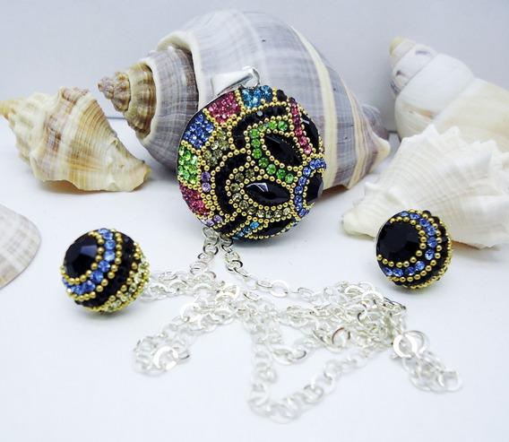Juego Aretes Collar Y Dije Fino Micro Perlas Cristales Plata