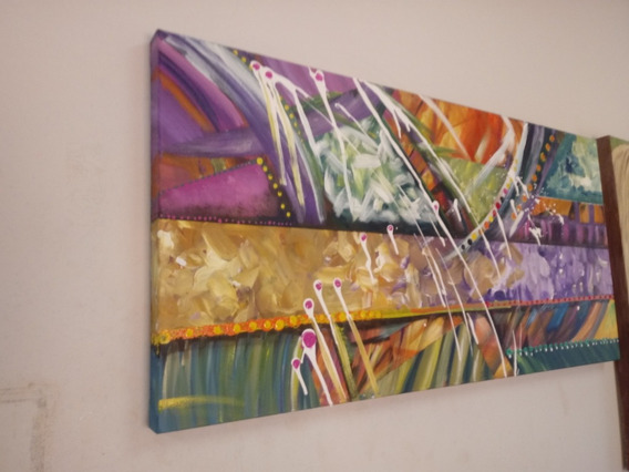 Pintura Tela Abstrato . Quadro Pintada A Mão. 100x50