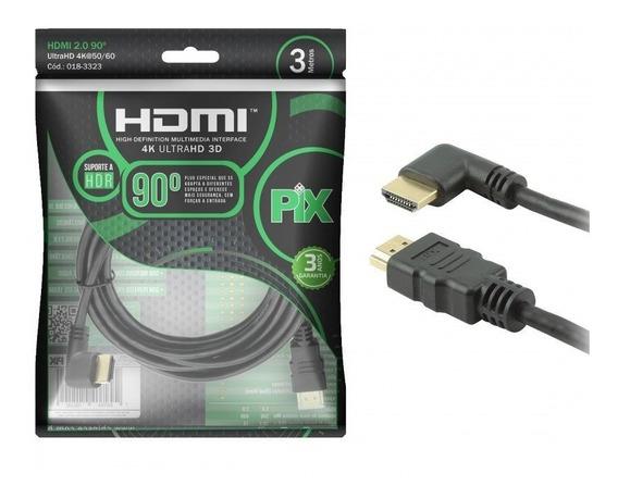 Cabo Hdmi L 3m 90 Graus Blindado 2.0 Ethernet 3 Metros 4k