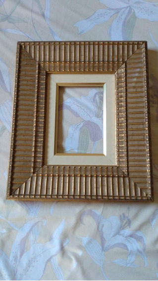 Antiga Moldura Porta Retrato Madeira Dourada #180