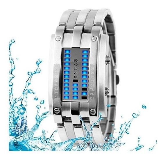 Reloj De Lujo Acero Inoxidable Binario A Prueba De Agua
