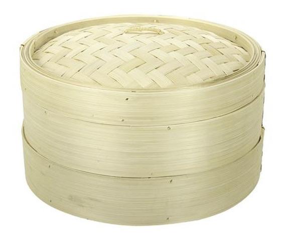 Vaporera De Bambu Desmontable De 2 Niveles 30 Cm