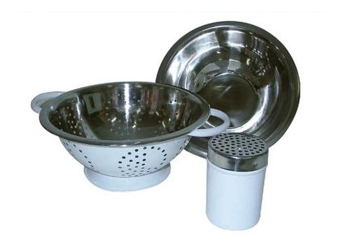 Imagen 1 de 6 de Set De Utensillos Ac Inox Colador Bowl Pinza Quesera - M M