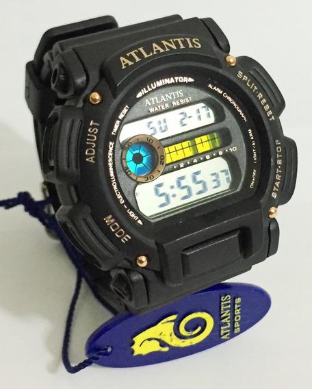 Relogio Atlantis Tforce 7312g Resistente A Quedas Preto